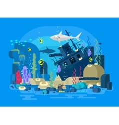 Sunken ship under water vector