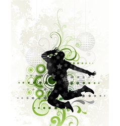 dancer on floral background vector image