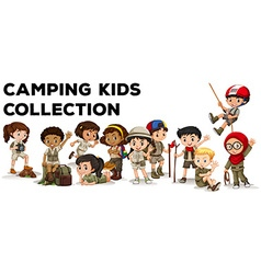 Children in camping outfit vector