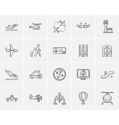 Air transport sketch icon set vector