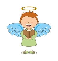 Angel boy character icon vector