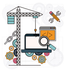 background with crane and laptop computer for vector image vector image