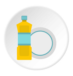 Bottle for dishwashing icon circle vector