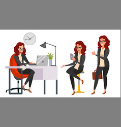 Business woman character working girl vector