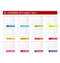 Calendar 2014 English Type 4 vector image vector image