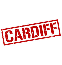 Cardiff red square stamp vector