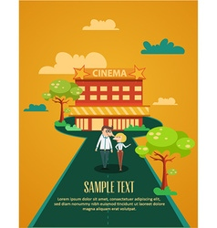 Cinema building and couple vector