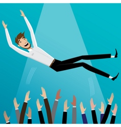Colleagues toss up businessman vector image vector image