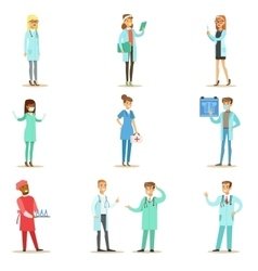 Doctors with different specializations wearing vector