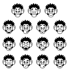 Glyph monkey face expressions vector