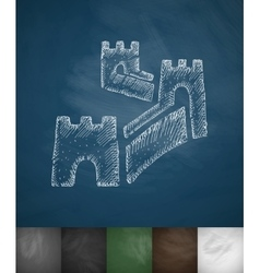 Great wall of china icon hand drawn vector