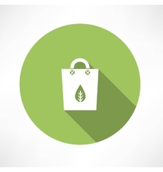 Green bag with paper leaf vector