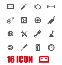 Grey car parts icon set vector