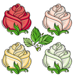 hand drawn sketch rose with leaves set vector image