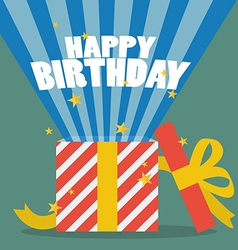 Happy birthday with a gift box vector