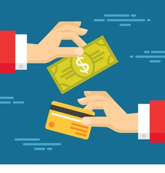 Human Hands with Card and Dollar - Exchange vector image vector image