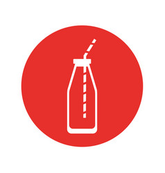 Juice bottle with straw vector
