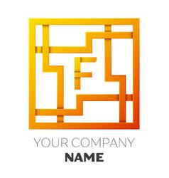 Letter f symbol in the colorful square maze vector