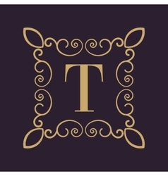 Monogram letter T Calligraphic ornament Gold vector image vector image