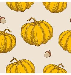 Pattern with orange pumpkin vector