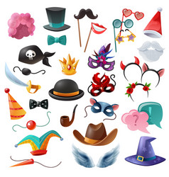 Photo booth party icons set vector
