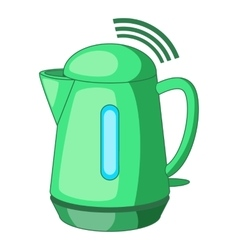 Plastic electric kettle with wi fi connection icon vector
