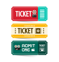 Retro paper tickets set isolated on white vector