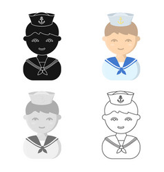 Sailor cartoon icon for web and vector
