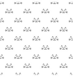 Seamless pattern with cat faces on white vector