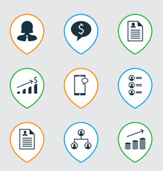 Set of 9 human resources icons includes vector