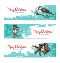 Set of Christmas Hand drawn banners vector image vector image
