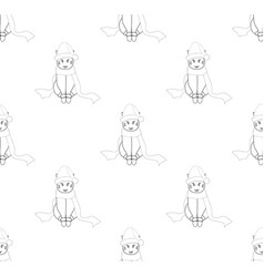 white santa cat with scarf on white background vector image