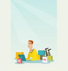 Young caucasian man doing online shopping vector