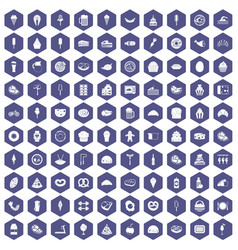 100 calories icons hexagon purple vector