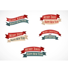 Retro Christmas background ribbons with text vector image