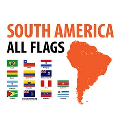 South america all flags vector