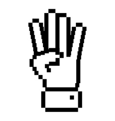 Outline pixelated hand with four fingers symbol vector