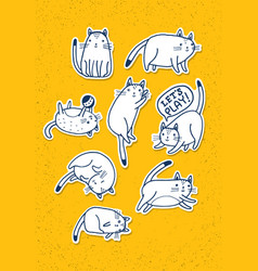 set of hand drawn cats funny pet sketch vector image