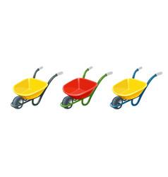 wheelbarrow gardening tools vector image