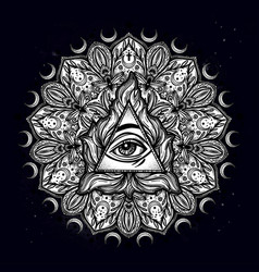 All seeing eye in ornate round mandala pattern vector