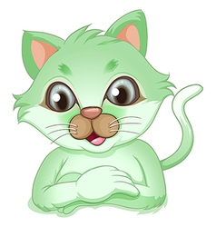 An adorable green cat vector