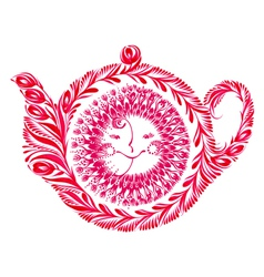 Decorative ornament teapot vector