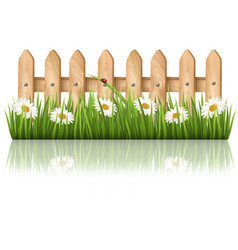 Background with a wooden fence with grass flowers vector