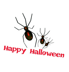Three evil spiders with word happy halloween vector