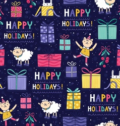 Happy holidays fun seamless pattern vector