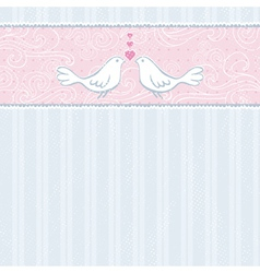 Valentine hand draw doves grey striped background vector