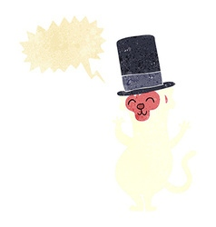 Cartoon monkey in top hat with speech bubble vector