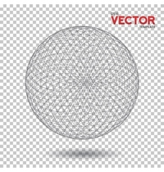 Global network wireframe globe ball with dots vector