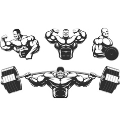 Silhouettes athletes bodybuilding vector image