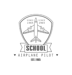 Airplane pilot school emblem design vector